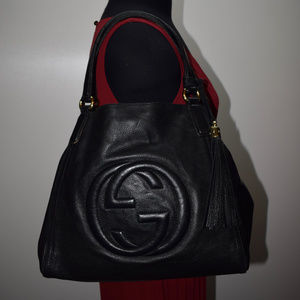 AUTHENTIC GUCCI SOHO SHOULDER BAG medium black